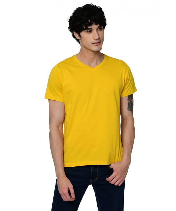 2020-2021 Men V-Neck yellow T-shirt