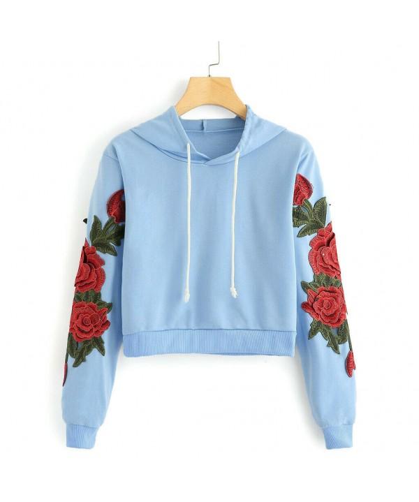 2020 Women Sweatshirt Hoodie Pullover Hoody Rose Print Plain Design Jumper Casual Top