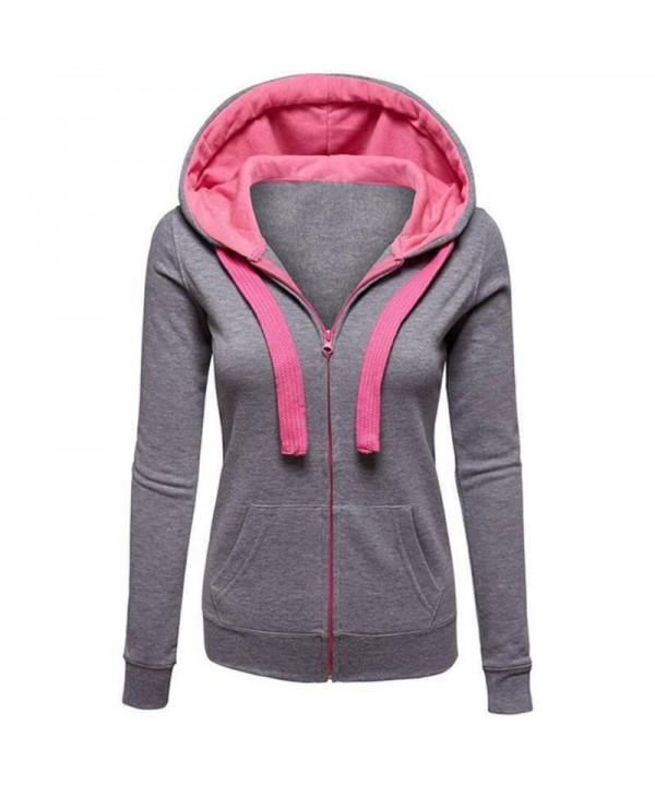 Women's Hoodies Coats Jackets Sweatshirt Hooded Casual Coat Tops Outwear Warm
