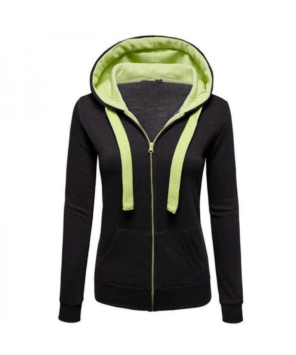 Women's Black Hoodies Coats Jackets Sweatshirt Hooded Casual Coat Tops Outwear Warm