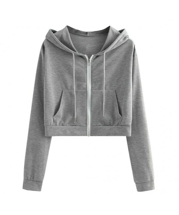 Women Zip Crop Hoodie Ladies Plain Sweatshirt Cropped Top Pullover Sweater UK