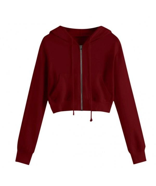 2020-2021 Women Zip Crop Hoodie Ladies Plain Sweatshirt Cropped Top Pullover Sweater
