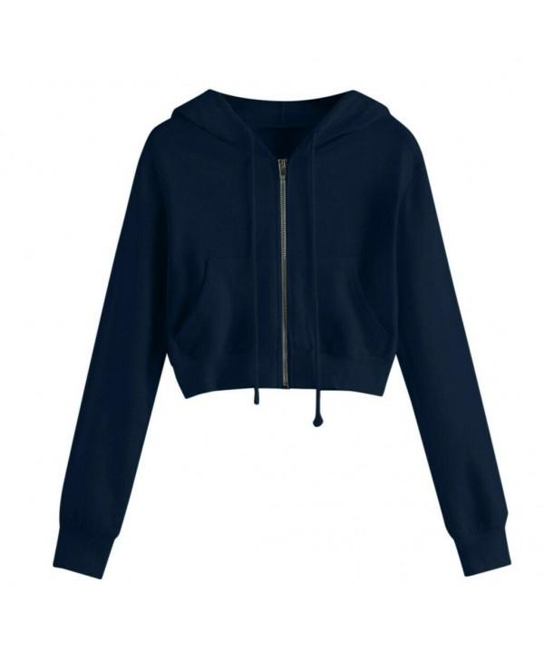 2021 Women Zip Crop Hoodie Ladies Plain Sweatshirt Cropped Top Pullover Sweater